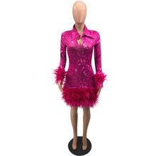Вечернее платье в стиле знаменитостей размера плюс с перьями, женское рождественское Платье До Колена с отложным воротником и длинным рука...(Китай)