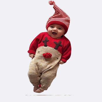 2019 winter baby christmas romper with striped hat toddler jumpsuit rompers fawn pattern new born romper