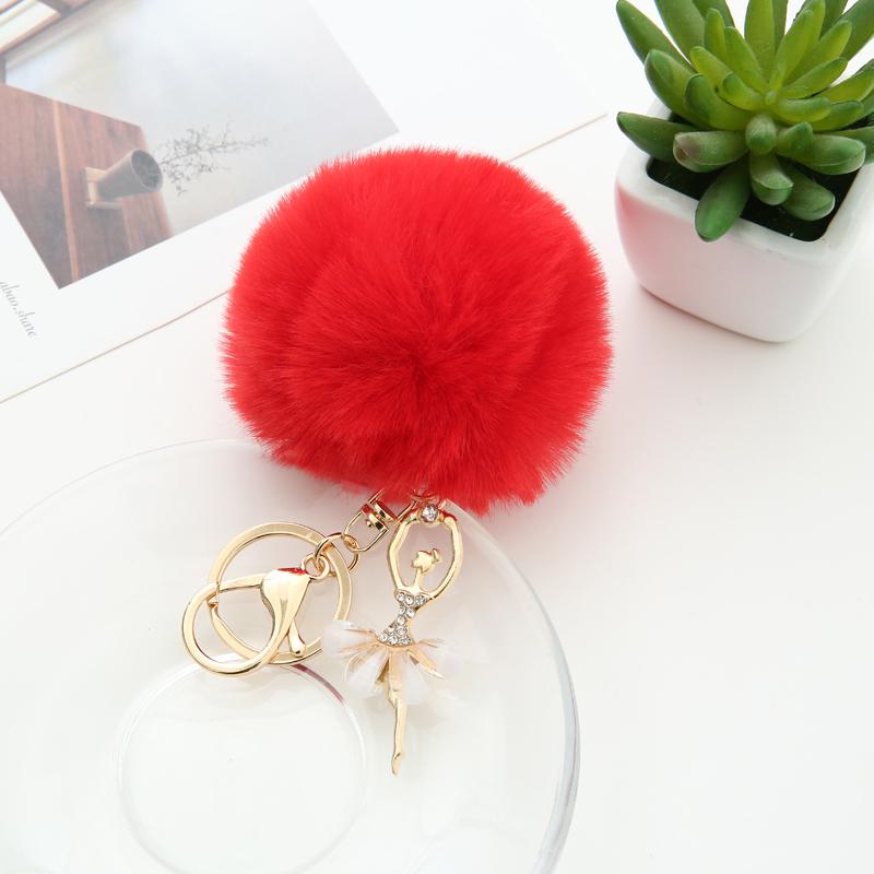 Faux Rabbit Fur Pom Pom Angel Ballet Girl Designer Key Chain for Ladies Keyrings Metal Charm Acessories Pendant Women 1054A
