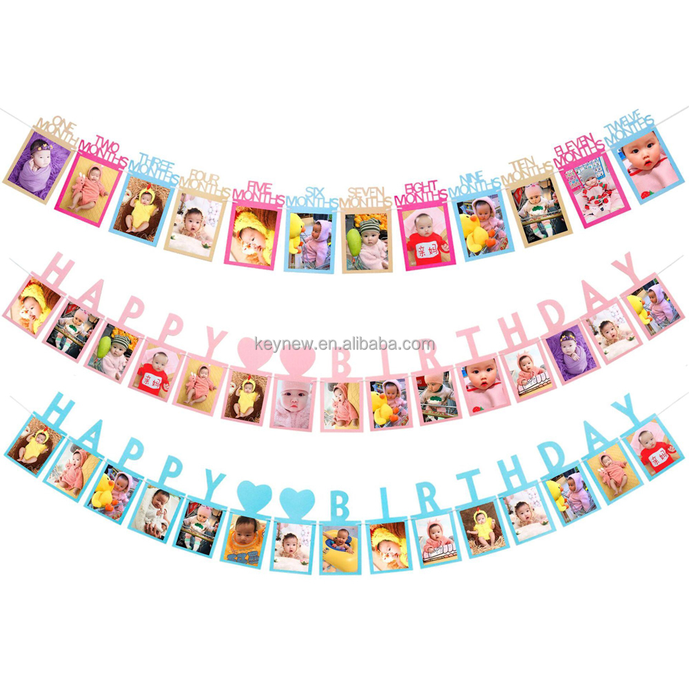 Happy Birthday Photo Frame Banner For Family First Party Decoration Kids Baby Boy Girl My 1st One Year Supplies 12 Month Buy 1st Birthday Photo Bunting Garland 12 Month Photo Banner Birthday
