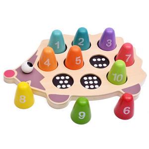 Wooden Educational Hedgehog Creative Match Game Mathematics Puzzle Kids Colorful Building Blocks