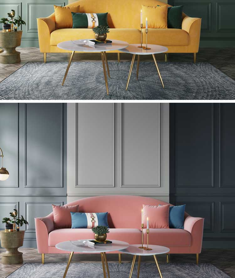 Linsy High Quality Modern Living Room Sofa Buttom Fabric Blue Pink Velvet Sectional Couch Sofa Lounge Chair Furniture RBJ3K