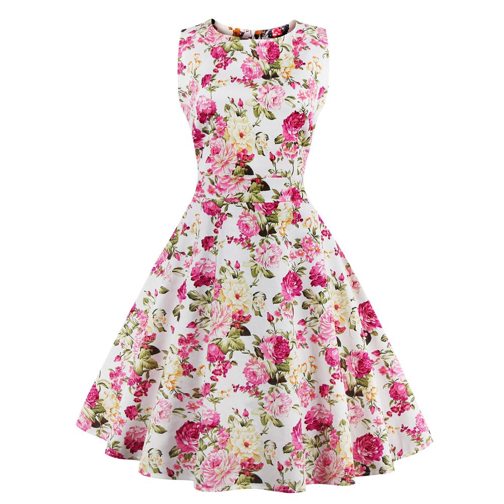 Women Summer Dress Floral Patterns Womens Clothing Robe Retro Swing Casual Vintage Dresses
