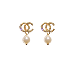 Pearl Fresh Water Pearl Cc Earrings Dainty Charms Cc Stud Earring For Women Channel Earrings