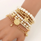 Beads Pearl Bracelet Bead Fashion Gold Color Beads Pearl Star Multilayered Beads Bracelets For Women