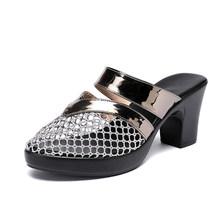 Женские шлепанцы с закрытым носком GKTINOO, летние туфли на высоком каблуке, элегантные Нескользящие шлепанцы(Китай)