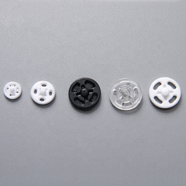 7-21mm Invisible Plastic Snap Fasteners Transparent Color Hidden Buttons Press Stud Poppers for Clothes Coat Shirt