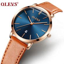 Лидирующий бренд OLEVS женские роскошные часы швейцарские кварцевые повседневные спортивные кожаные ультра тонкие водонепроницаемые часы ...(Китай)