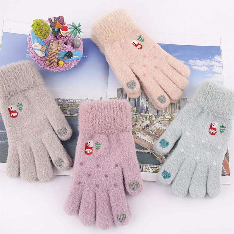 Fashion Thick Warm Outdoor Activities Sports Drive Cycling Winter Christmas Gift Wool Touch Screen Gloves