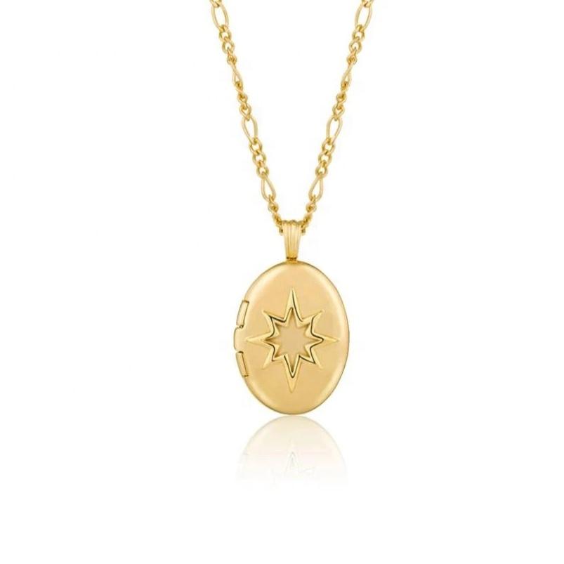 cz Starburst Pendant Necklace 18k gold filled