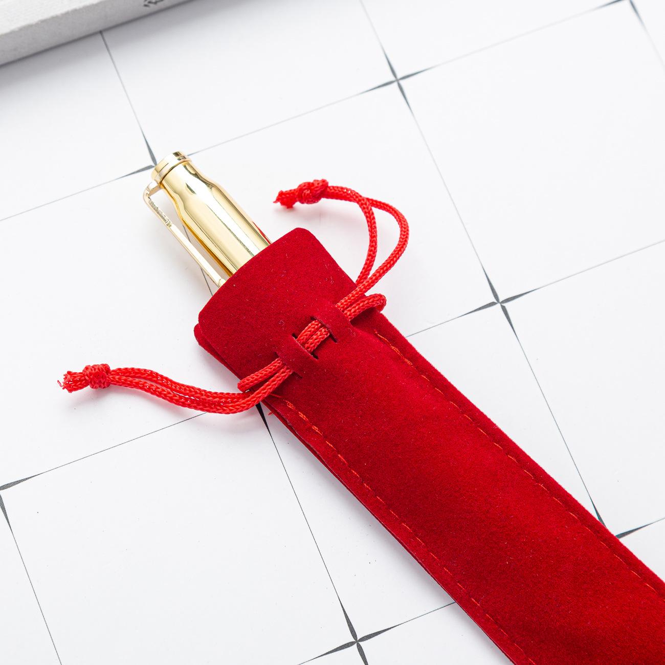 Creative Design Plush Velvet Pen Pouch Holder Single Pencil Bag Pen Case With Rope Office School Writing Supplies Student Christ