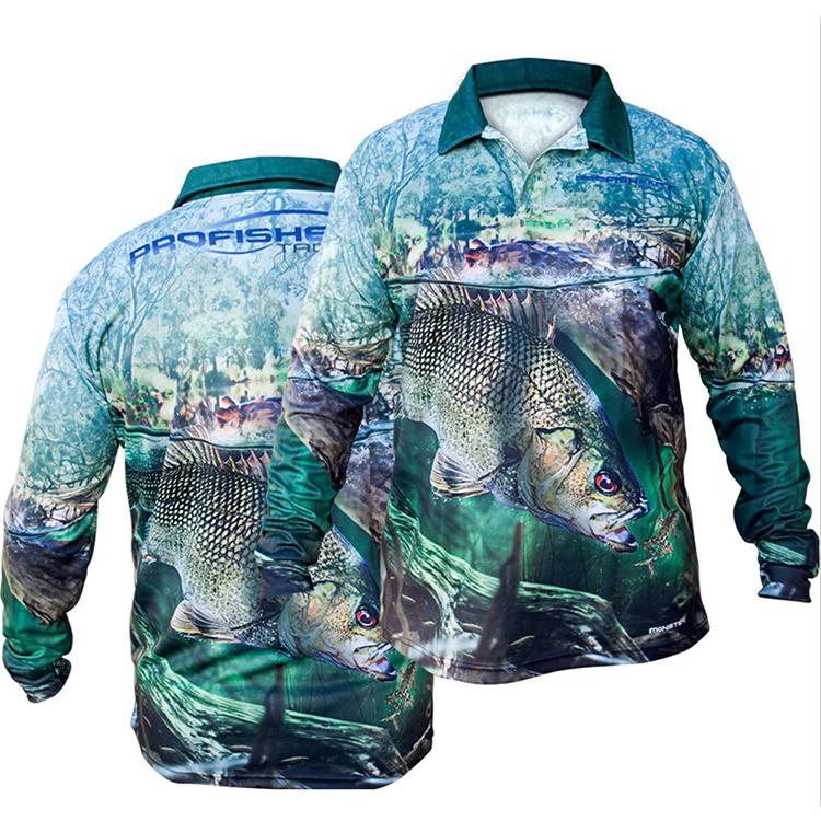 Солнцезащитная дышащая рыболовная рубашка Upf50 с защитой от УФ-лучей, с воротником и сублимационным принтом