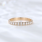 Ring Eternity Band 14k Gold Ring Single Row Micro Pave Round Moissanite Ring Gold Wedding Half Eternity Band