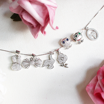 Wholesale jewelry making accessory rabbit and owl shape 925 sterling silver CZ pendant