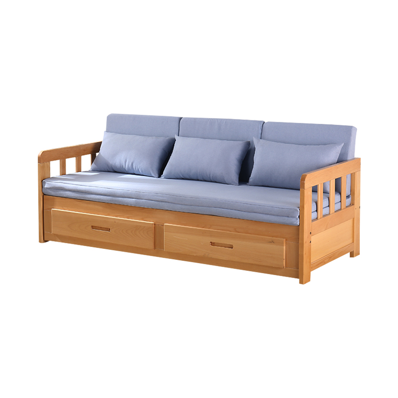 Nordic Solid Wood Folding Sofa Bed Dual-use Multi-Function economical Living Room Small Apartment Single Double net red Section Study