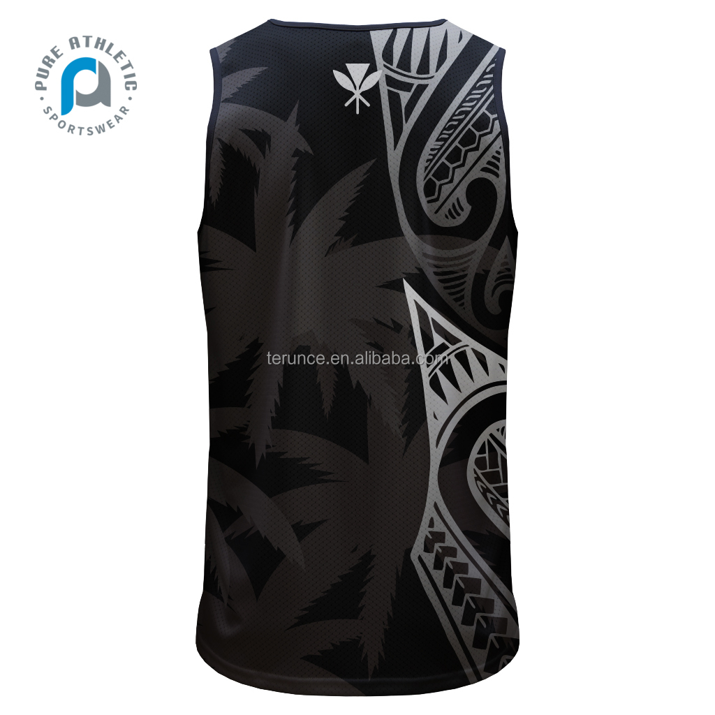 PURE New Cheap Custom Design Breathable Gym Hawaii Tank Top Sublimation Mens Gym Singlet For Sport