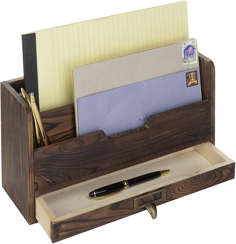 3-х уровневый кофейно-коричневый деревянный офисный стол файл Органайзер сортировщик почты лоток держатель w/ящик для хранения косметики ящик для хранения держит ручки, фломастеры, заколки, ленты