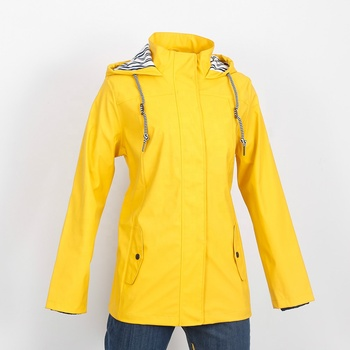 Waterproof fashion yellow raincoat ladies coat