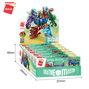 Qman OEM juguetes 6 IN 1 Deformation 553Piecs education toys Mecha toys building block intelligent assemble toy for kid