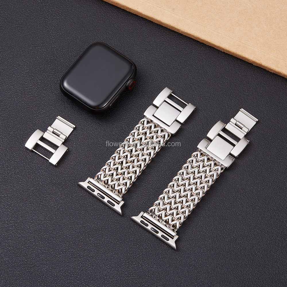 Steel Band Compatible Amazon Luxury Adjustable stainless steel Tassels Strap For Apple Watch Band Series 6/SE/5/4