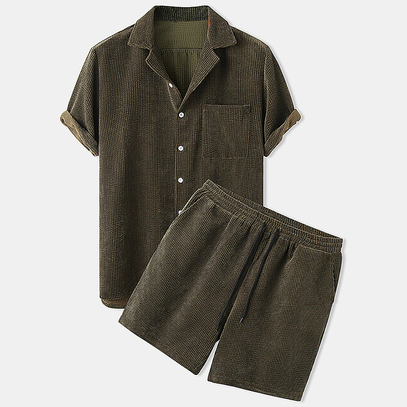 Revere Collar Moderate Thick Two Piece Mens Corduroy Shirt and Shorts Set with Custom Brand
