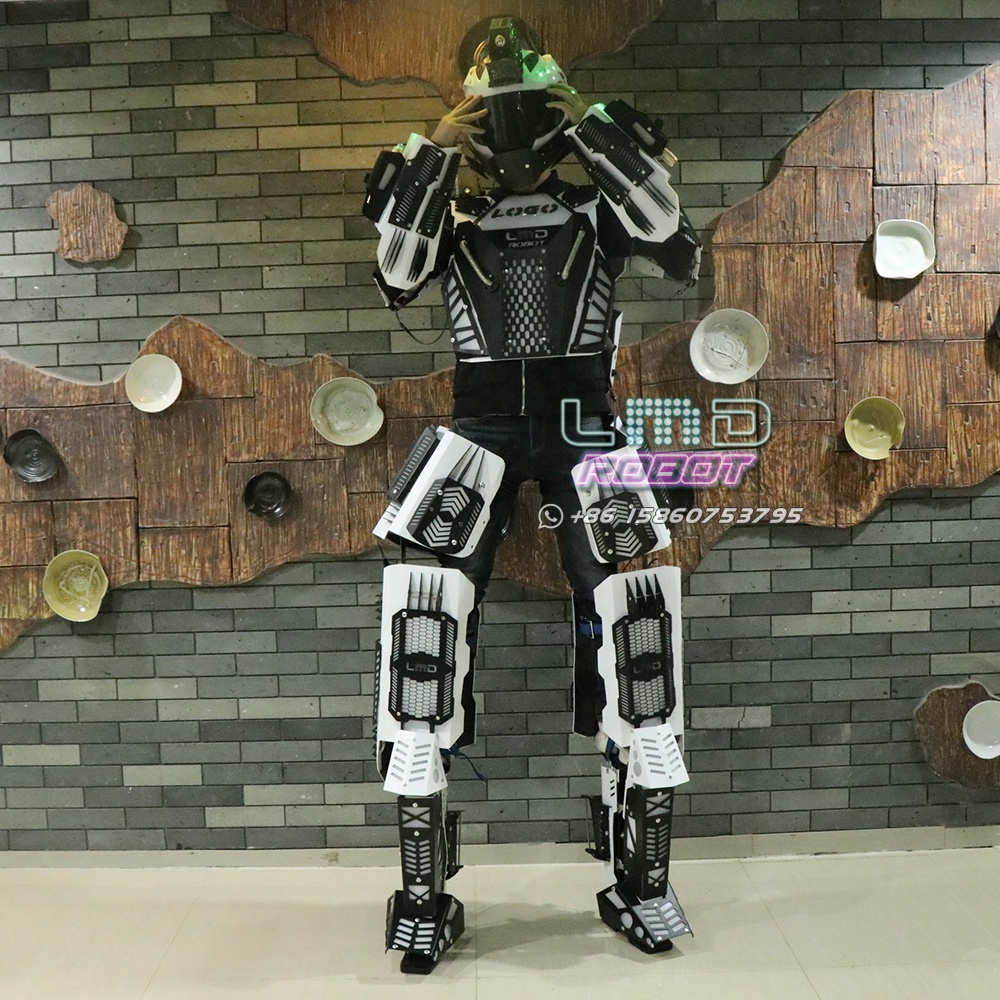 Free Shipping Huge Stilts Walker Robot Led Costume with Rechargeable Battery Luminous Armor