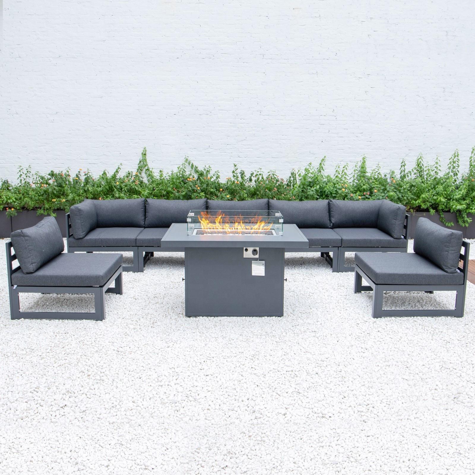 Уличный Плетеный садовый диван из ротанга для внутреннего дворика, уличный алюминиевый диван с огненным столом