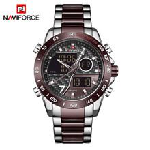 NAVIFORCE мужские часы Топ бренд класса люкс Спортивные кварцевые LED двойной дисплей мужские часы армейские военные водонепроницаемые полность...(Китай)