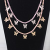 butterfly necklace with14 inch pink stone