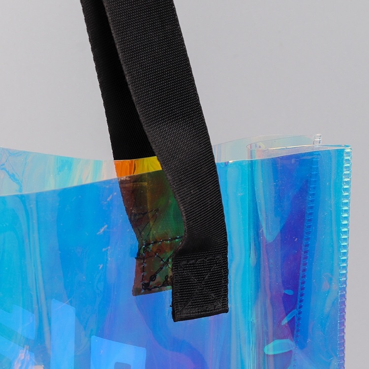 Customized shiny material Screen Printing Surface Handling handles pvc holographic shopping tote bag