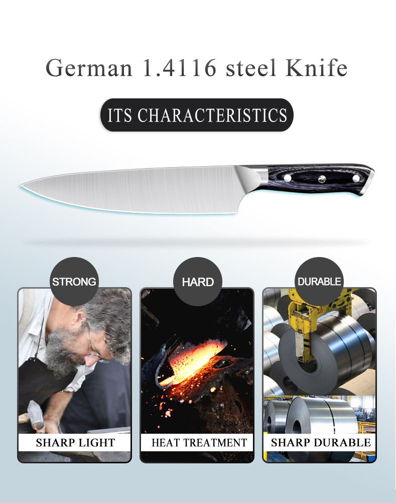 8 inch german stainless steel professional japanese kitchen chef knife wooden handle gift box handmade