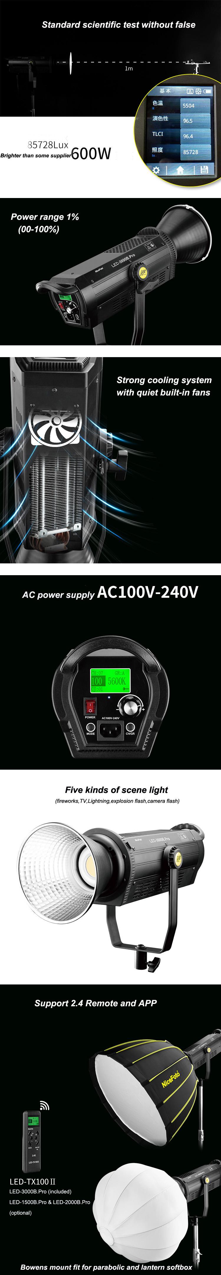 LED-3000B.Pro  NiceFoto 300W Professional LED Video Light film light photographic Equipment studio lighting 5600K