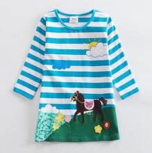 Летнее платье; Одежда для девочек; Детские платья с длинными рукавами и цветочным рисунком; Одежда принцессы с единорогом для маленьких дет...(Китай)