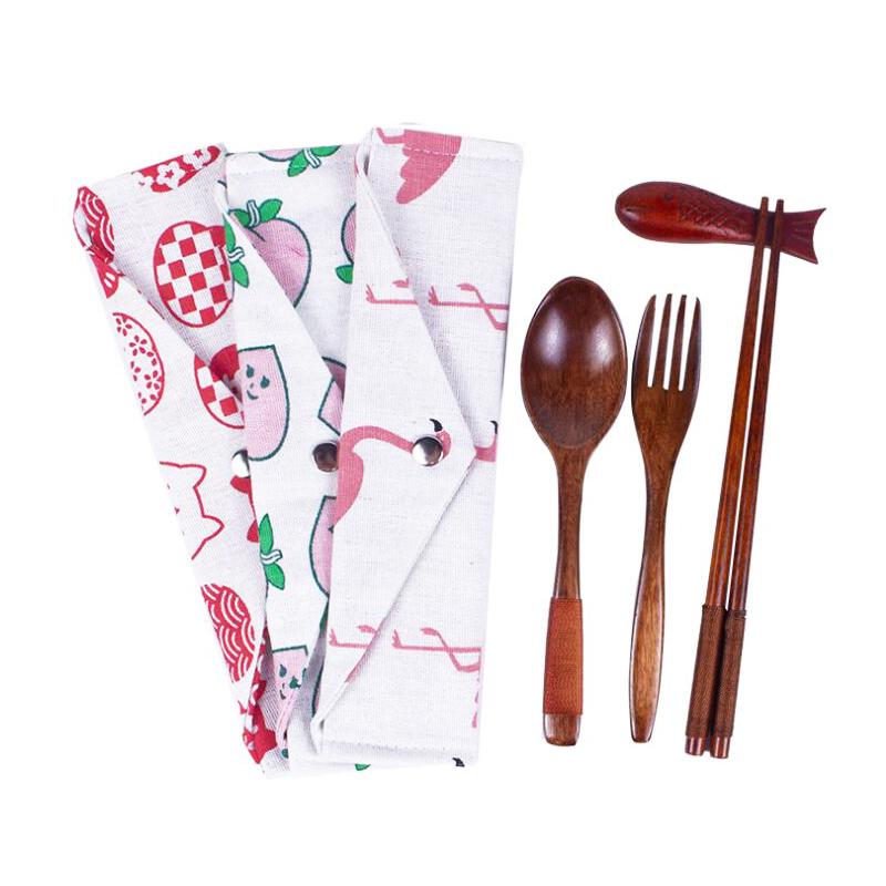 Корейские японские портативные многоразовые дорожные вилки ложки и палочки для еды Подарочный деревянный набор с сумкой