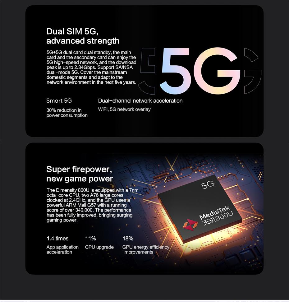 "Original Realme V15 6/8GB 128GB 5G Smart Phone 6.4""FHD+ SuperAMOLED Dimensity 800U Octa Core 4300mAh 64MP 50W Fast Charger Phone"