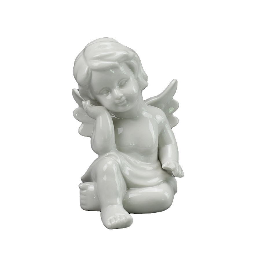 White Ceramic Angel Figurine Sold As Pair or Individually