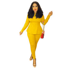 Echoine осень для женщин комплект одежды из 2 предметов пиджак Повседневная обувь FullSleeve оборками, узкие брюки, костюм из двух частей комплект Оф...(Китай)