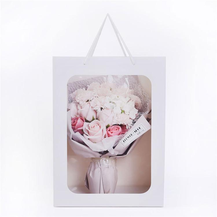Модное прозрачное окно большого размера с прозрачным окошком из ПВХ, Подарочный цветочный бумажный пакет