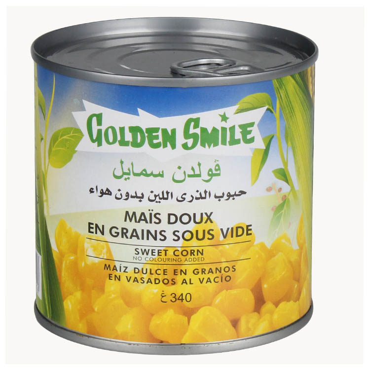 140g canned sweet corn in 340g in tray