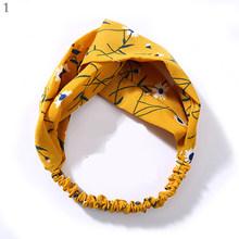 Модные женские летние богемные повязки для волос с принтом, винтажные повязки на голову с перекрестными тюрбанами, повязки для волос, аксес...(Китай)