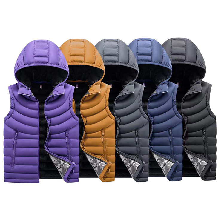 Popular detachable hood 100% polyester fur lining men cotton-padded jacket vest