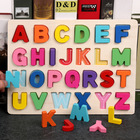 Educational High Quality 3D Wooden Alphabet And Number Jigsaw Puzzle Educational Toy For Kids