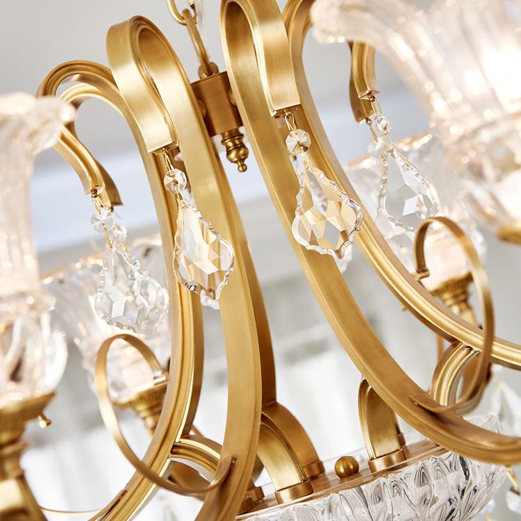 European chandelier living room all copper 6 head dining room bedroom chandelier candle Crystal Chandelier