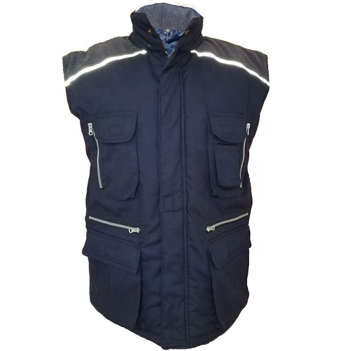 Reflective tape padded quilted working vest HI VIS Trucker body warm waistcoat Outdoor High visible Hunting Fishing vest