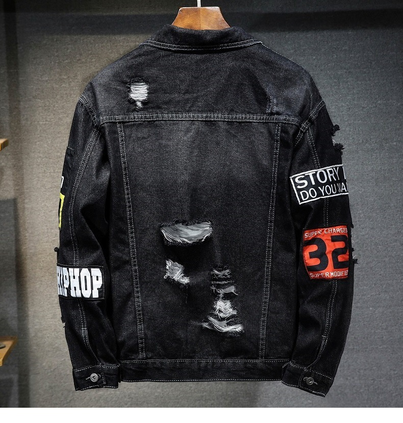 Fashion high quality embroidered patch jeans jacket for men blue and black ripped jaket men