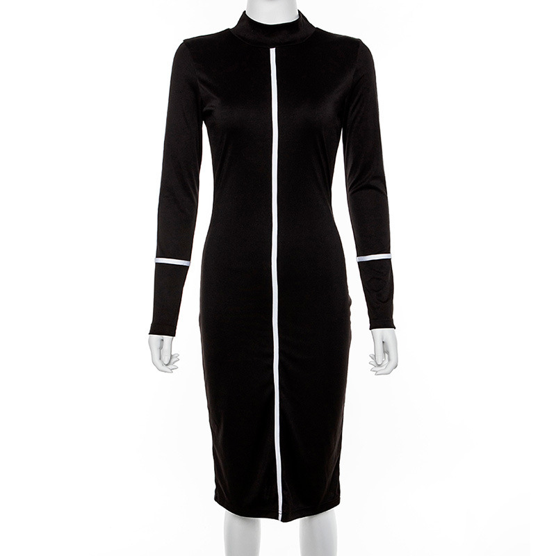 Wholesale long sleeves stripe sexy woman bodycon midi dress
