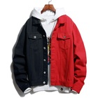 Contrast Colors Men Fashion Denim Jackets Custom Mens Denim Jacket For Men