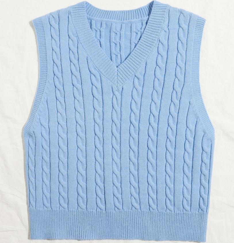 Hot Selling Korean V Neck Sleeveless Autumn Winter Jumper Knitted Pullover Loose Tops Women Vest Sweater Top