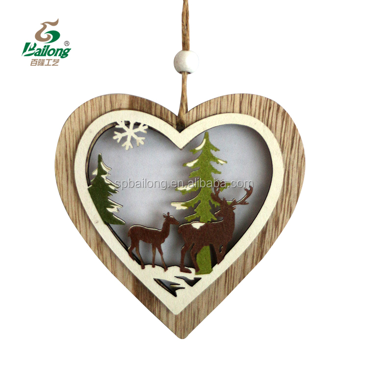 Professional factory ready to ship wooden hanging ornaments wooden Christmas decoration