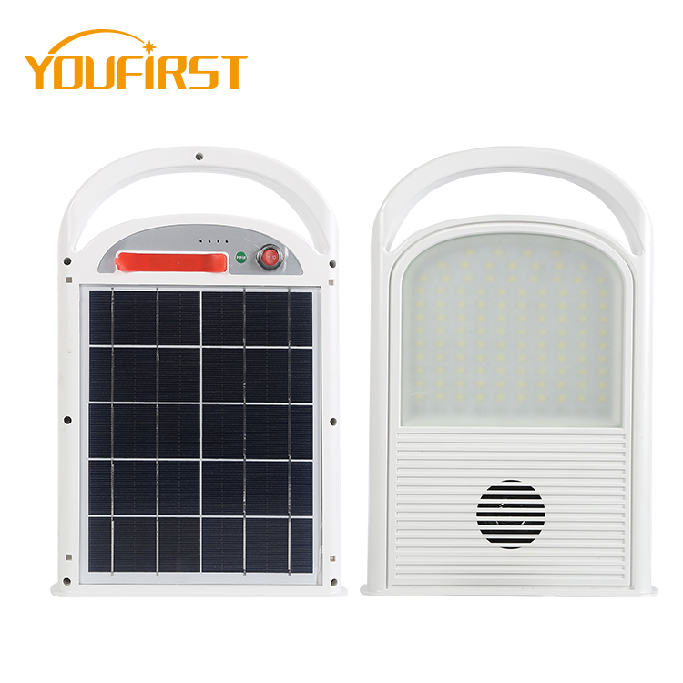 High quality portable USB charging red and blue flash ip65 50w music outdoor led solar flood light